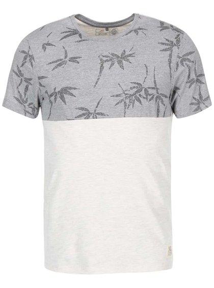 Sivé tričko s potlačou listov Blend