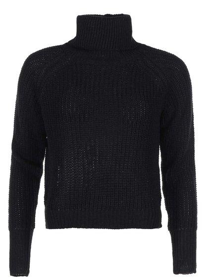 Pulover tricotat cu guler rulat și fermoar decorativ Noisy May Rain - negru
