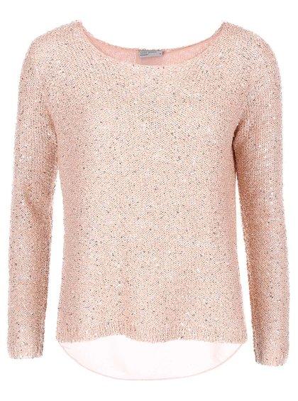 Ružový flitrovaný sveter VERO MODA Cori