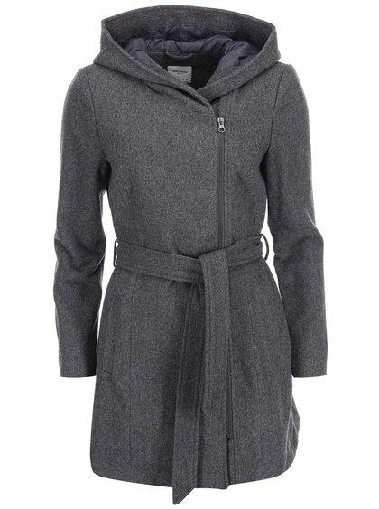 Šedý kabát s kapucí VERO MODA Joyce Daisy