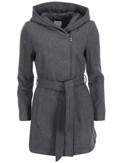Sivý kabát s kapucňou VERO MODA Joyce Daisy