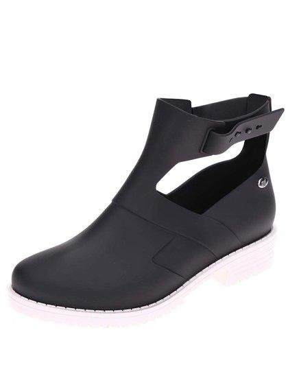 Čierne otvorené členkové topánky s bielou podrážkou Mel Open Boot
