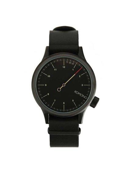 Čierne pánske kožené hodinky Komono Magnus The One