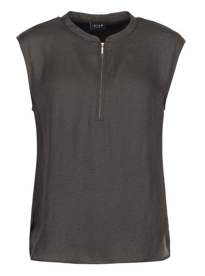 Bluză Sofital, de la VILA, mătăsoasă, cu fermoar - gri