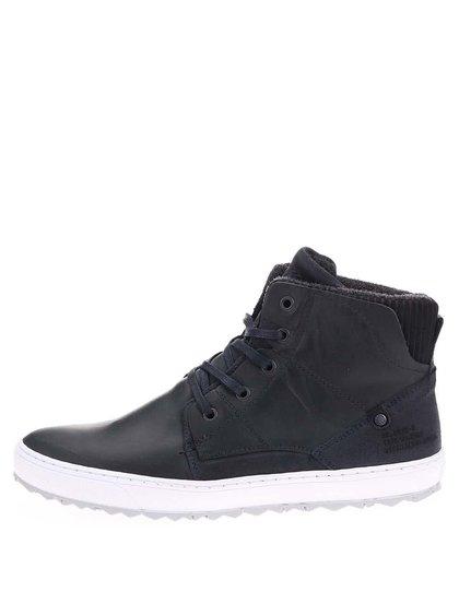 Pantofi sport bărbătești înalți până la gleznă, din piele, cu talpă albă, de la Bullboxer - bleumarin