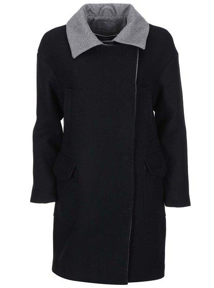 Čierny kabát so sivým golierikom VERO MODA Malene