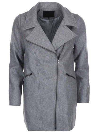 Palton din lână cu fermoar Lavand - gri