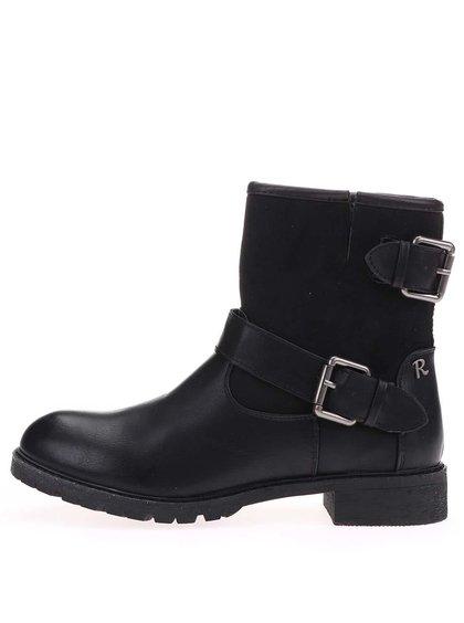Černé kotníkové boty s přezkami Refresh