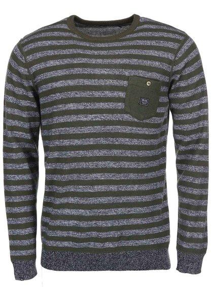 Zelený pánsky sveter so sivými pruhmi Rip Curl