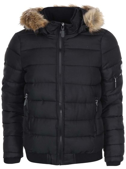 Jachetă matlasată Sandra neagră cu glugă din blană de la VERO MODA