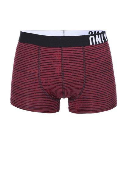 Černo-vínové pruhované boxerky ONLY & SONS Sid