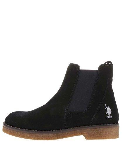 Černé dámské kožené boty U.S. Polo Assn. Margot