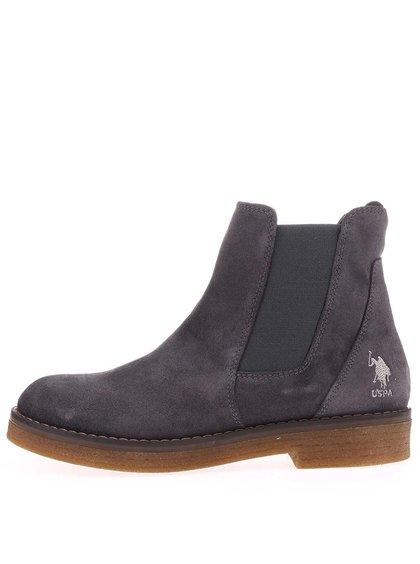 Šedé dámské kožené boty U.S. Polo Assn. Margot