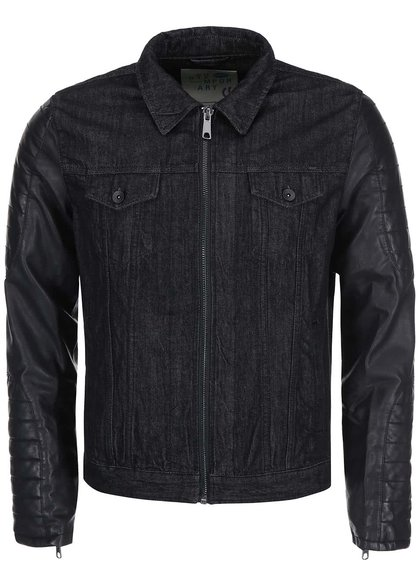 Černá džínová bunda s koženkovými rukávy !Solid Rexford
