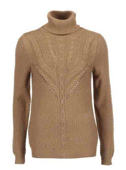 Hnědý pletený svetr se vzorem VILA Lilla