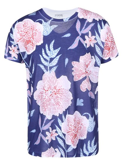 Modré pánské triko s růžovými květy ZOOT Originál Květiny
