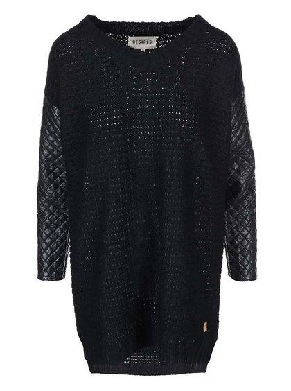 Černý svetr s koženkovými rukávy Desires Jabina