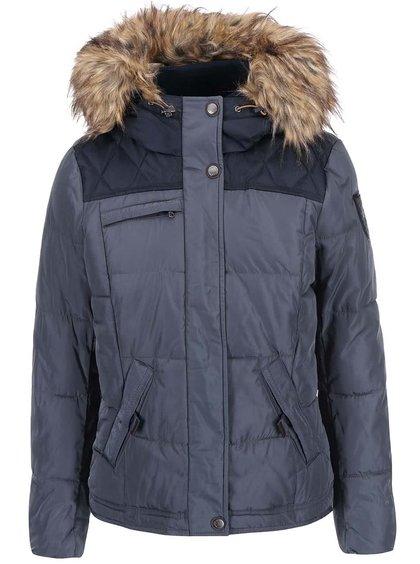 Jachetă de puf Wonder albastră cu glugă cu blană de la ONLY
