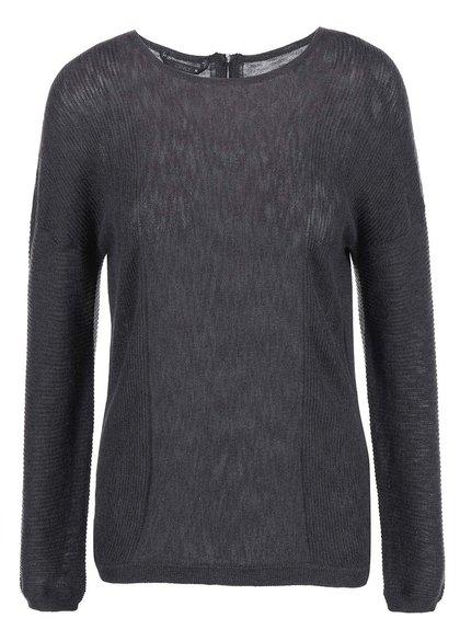 Šedý žíhaný svetr s ozdobným zipem na zádech ONLY Robin