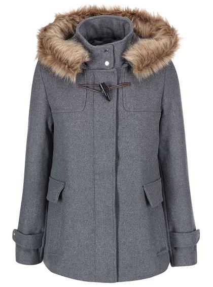 Sivý kabát s kapucňou Vero Moda Camille