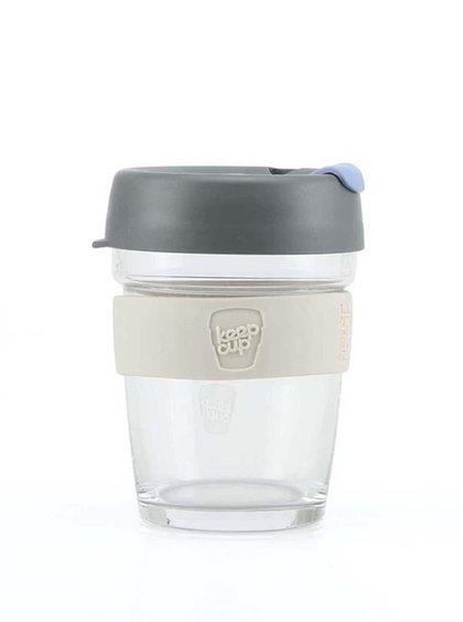 Dizajnový cestovný sklenený hrnček KeepCup Brew Silver Medium