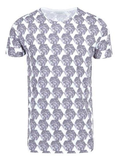 Bielo-sivé vzorované tričko Lindbergh