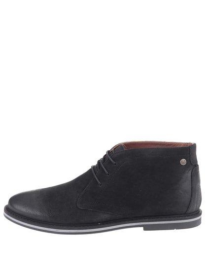 Černé kožené kotníkové boty Frank Wright Barnet