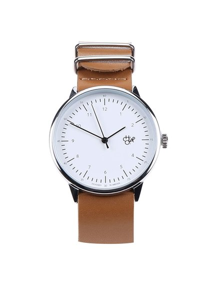 Unisex hodinky ve stříbrné barvě s hnědým koženým páskem Cheapo Harold