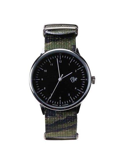 Zeleno-černé pánské maskáčové hodinky Cheapo Harold Tiger Camo