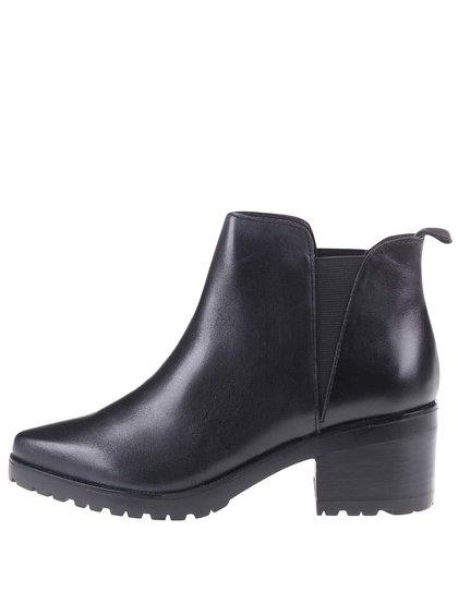 Čierne kožené členkové topánky ALDO Babbe