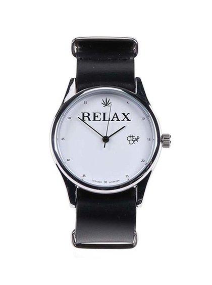Unisex hodinky v striebornej farbe s čiernym koženým remienkom CHPO Relax