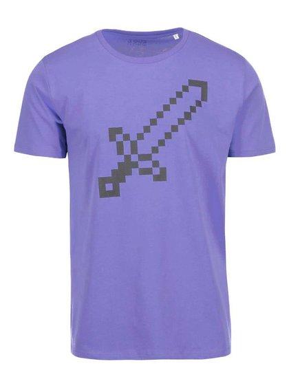 Fialové pánské triko ZOOT Originál Pixel meč