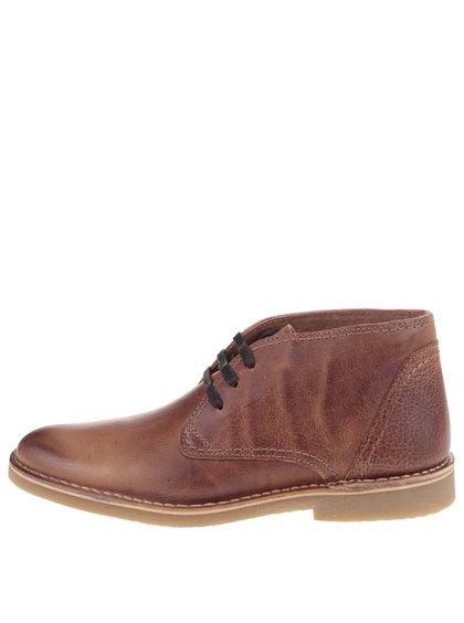 Hnědé kožené nižší kotníkové boty Selected Royce