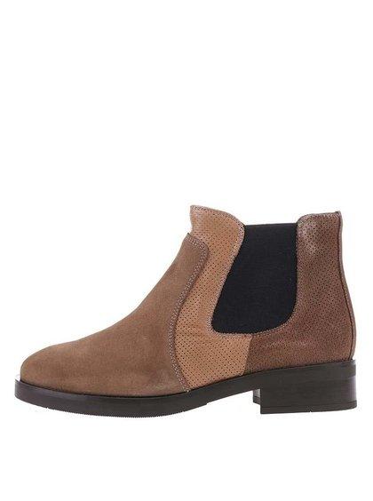 Hnedé kožené členkové chelsea topánky OJJU