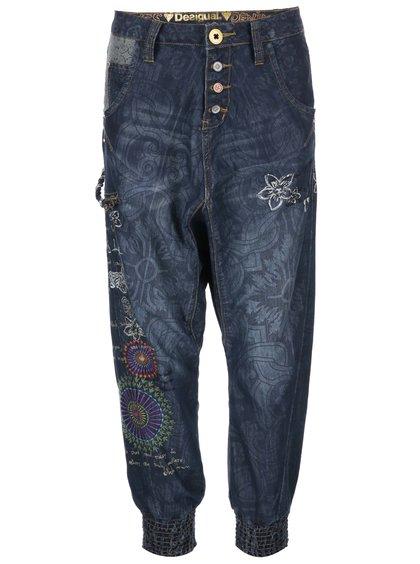 Modré vzorované džíny se sníženým sedem Desigual Turko Galactic