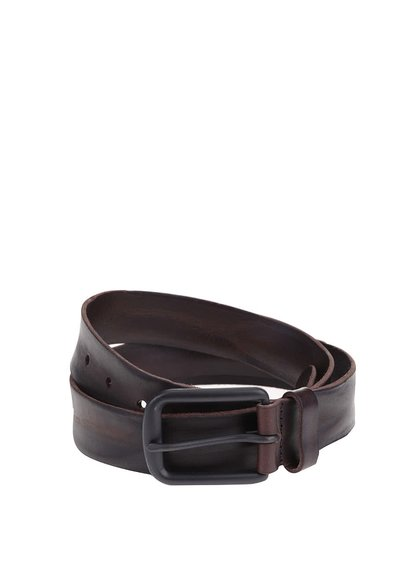 Černo-hnědý kožený pásek Jack & Jones Brice