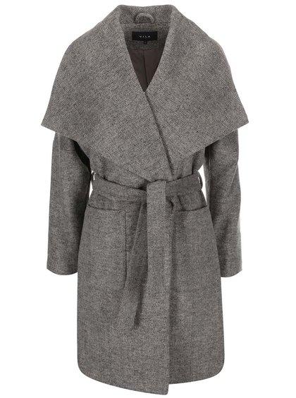 Béžovo-šedý žíhaný kabát VILA Acel