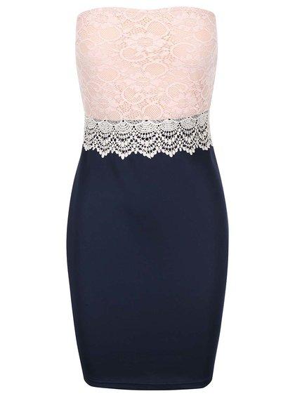 Rochie fără mâneci albastră cu partea superioară din dantelă roz AX PARIS