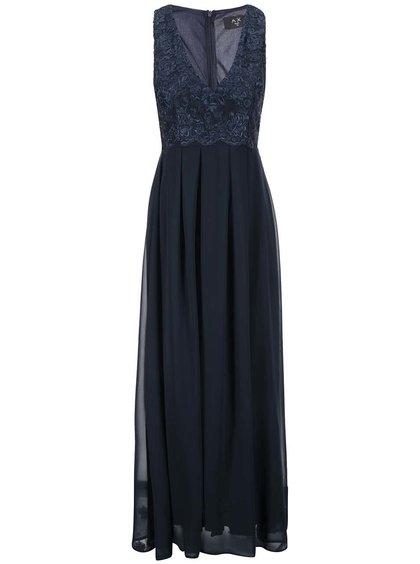 Tmavomodré šaty s vyšívaným topom s výstrihom AX Paris