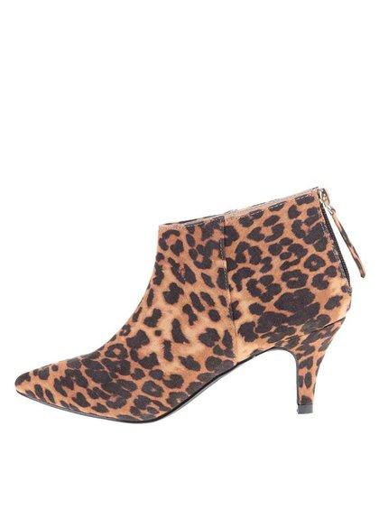 Kotníkové boty na nízkém podpatku s leopardím vzorem Pieces Valua