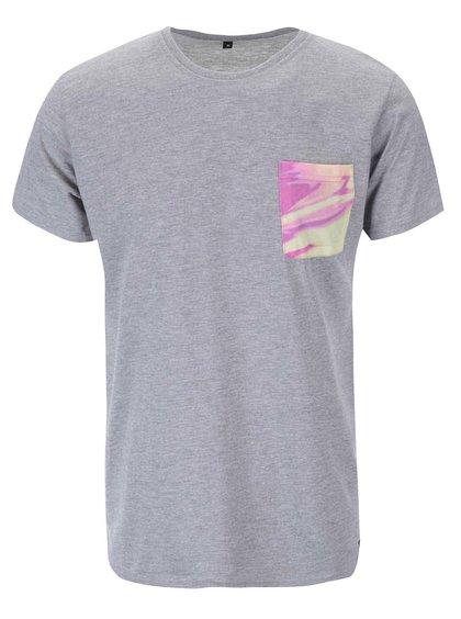 Sivé unisex tričko s farebným vreckom Grape