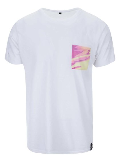 Biele unisex tričko so žltým vreckom Grape