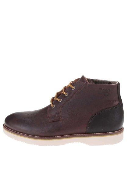 Tmavohnedé pánske kožené členkové topánky GANT Huck