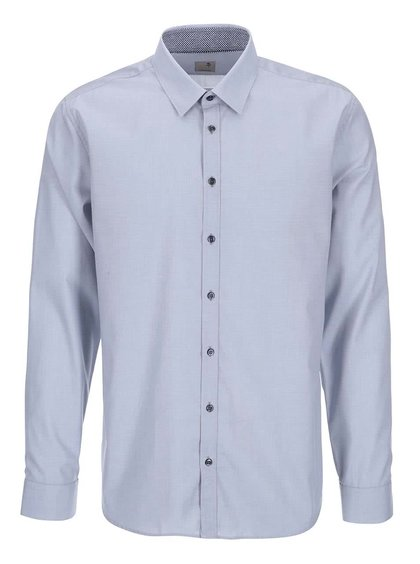 Modrosivá košeľa s jemným vzorom Seidensticker Modern Kent Patch