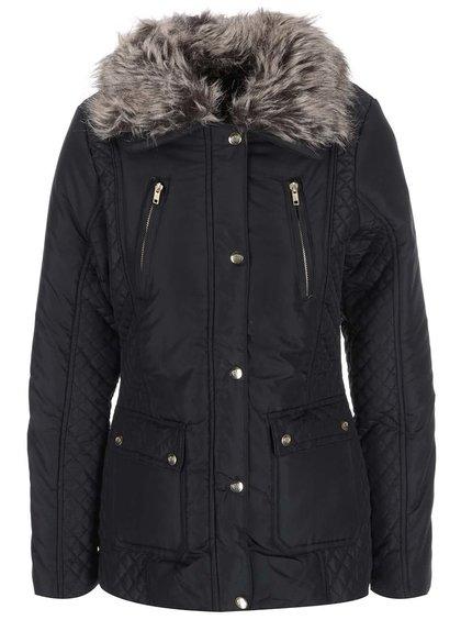 Čierna dámska bunda s kožúškom Brave Soul Bordeaux