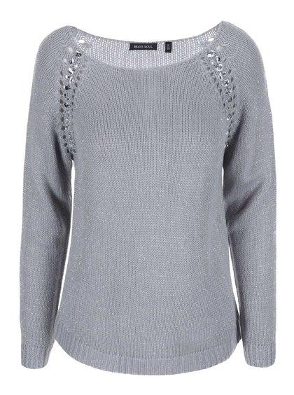 Šedý dámský svetr se stříbrnými detaily Brave Soul Gem