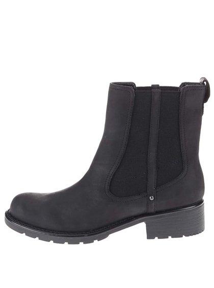 Čierne kožené členkové chelsea topánky Clarks Orinoco Club