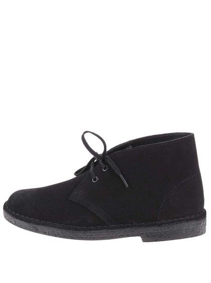 Čierne dámske kožené členkové topánky Clarks Desert Boot