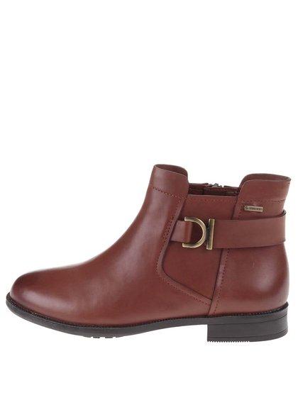 Hnedé dámske kožené členkové topánky s membránou GORE-TEX Clarks Mint Jam