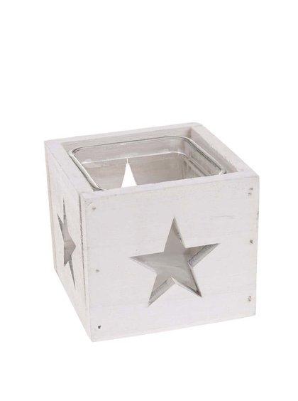 Suport de lumânare alb din lemn cu stele de la Dakls